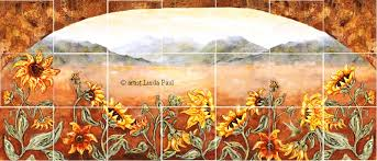 Sunflower Decorations Sunflower Kitchen Decor Tile Murals Western Backsplash Of Sunflowers