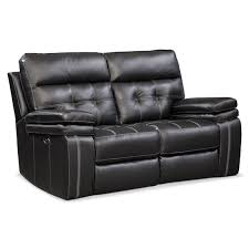 Black Leather Reclining Loveseat The Brisco Power Reclining Collection Black American Signature