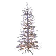 6 5ft pre lit flocked white artificial tree pine
