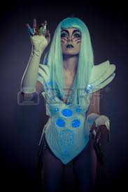 sci fi woman robot with led light dress white and blue hair stock