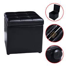 faux leather ottoman pouffe storage single seat toy box foot stool