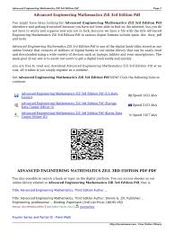 advanced engineering mathematics zill 3rd edition pdf glvng