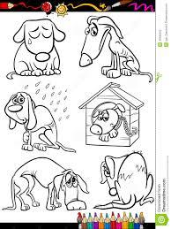sad dogs group cartoon coloring book stock vector image 40995943