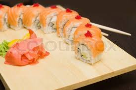 gourmet food sushi with salmon japanese gourmet food stock photo colourbox