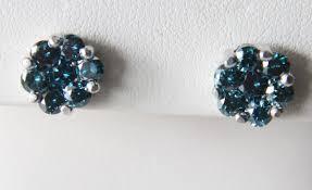 blue stud earrings 14k white gold blue diamond cluster stud earrings 1 12 tcw