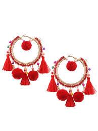 hoop beaded earrings fuzzy beaded tassel hoop earrings earrings zaful
