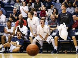 basketball bench celebrations monmouth bench mob glasses kid n play snake charming