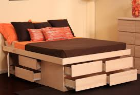 Modern White Bed Frame Bed Queen Size White Oak Wood Flat Bed Frame With Storage
