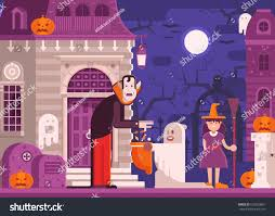 halloween scene scary haunted house trick stock vector 692893801