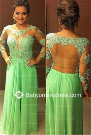 long sleeves sheer lace prom dresses chiffon tulle floor length