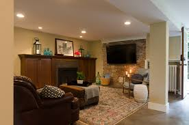 fireplace tile surrounds basement traditional with family room