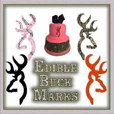 browning cake topper edible buck symbols image printed on sugar by pictures4cakes