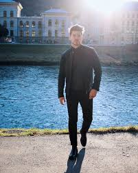 salzburg sunset walks in all black selected homme leather jacket
