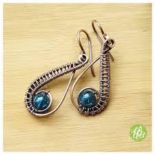 earring dangles teal green earring copper wire earring dangle earring copper