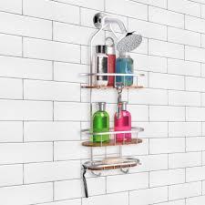 shower caddy utopia alley tia large over the showerhead rustproof shower caddy teak shelves