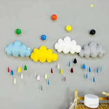 Nursery Room Wall Decor Colorful Wall Stickers Fabric Silk Wadding Cloud Raindrop
