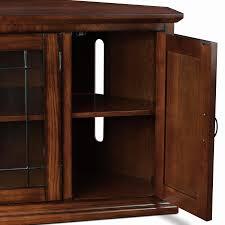 Corner Wood Tv Stands Amazon Com Leick 80385 Oak Leaded Glass Corner Tv Stand Kitchen