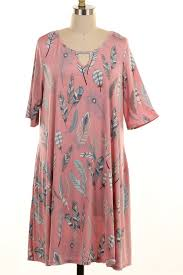 plus size chest cutout feather print dress with pockets
