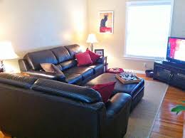 decorating ideas for living room with black leather couch