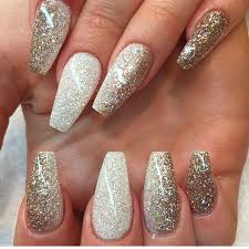white to gold glitter ombre long coffin nails glam and chic nail