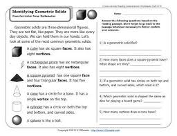 identifying geometric solids 2nd grade reading comprehension