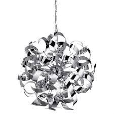 ribbon light sputnik chrome ribbon pendant light at homebase co uk