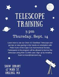 telescope training at snow library on thursday september 14 at 3