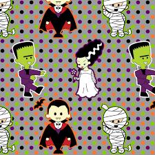 classic monster movie kawaii halloween print fabric risarocksit
