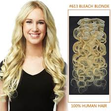 20 inch hair extensions inch 613 wavy clip in human hair extensions 10pcs