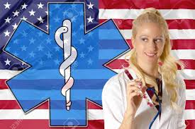 stock united healthcare american health care concept with american flag woman doctor