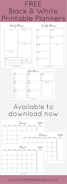 design planner simple black and white printable planners true bliss designs