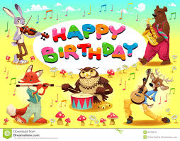 Jungle Birthday Card Happy Birthday Card With Jungle Animals Stock Vector Image 50569968
