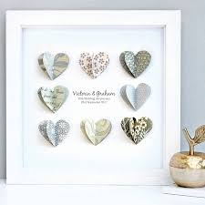 paper anniversary personalised silver anniversary paper hearts by sweet dimple