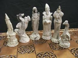 furniture awesome dragon chess set with white color and gold