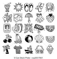 vectors of 25 sketch icon set of summer theme vector illustration