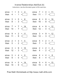 addition and subtraction facts to 20 worksheet worksheets