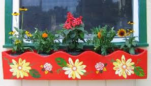 Wooden Window Flower Boxes - painted scalloped cedar window box