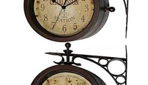 Outdoor Pedestal Clock Thermometer Ashton Sutton H1109 20f Double Sided Bracket Clock And Thermometer