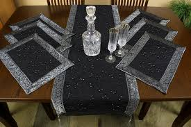 embroidered 7 placemat table runner set banarsi designs