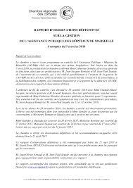 Chambre Ré Ionale Des Comptes Paca Rapport D Observations Définitives Sur La Gestion De L Assistance Pub