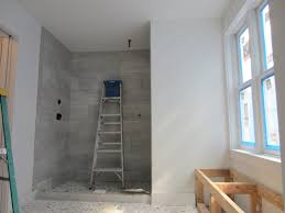 master bathroom tile ideas gio design master bathroom progress the shower walls are tiled in