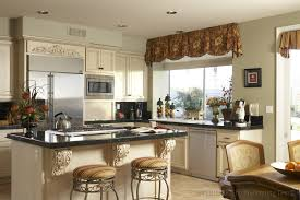 inspiring kitchen window treatments with brown over valance