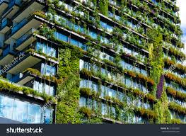 Greenliving by Green Skyscraper Building Plants Growing On Stock Photo 412333285