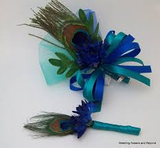 teal corsage custom made to order blue and teal corsage and boutonniere set