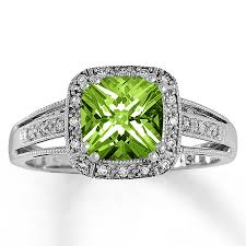 peridot engagement ring jared peridot ring 1 10 ct tw diamonds 10k white gold