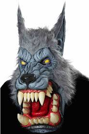 grey latex deluxe werewolf mask moving wolf mask with grey fur