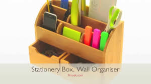 Desk Organiser For Kids 1045 Bamboo Desk Stationery Box Wall Mounted Organiser Youtube
