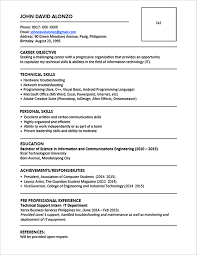 resume formats for engineers sle resume format for fresh graduates one page format
