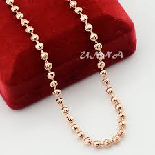 rose gold necklace womens images Pretty looking mens rose gold necklace womens men bead plated jpg
