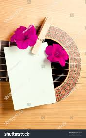 Invitation Blank Card Stock Acoustic Guitar Flowers Blank Card Concept Stock Photo 93703912